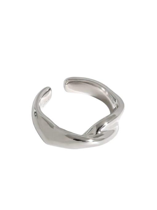 Platinum [12 Adjustable] 925 Sterling Silver Irregular Minimalist Band Ring